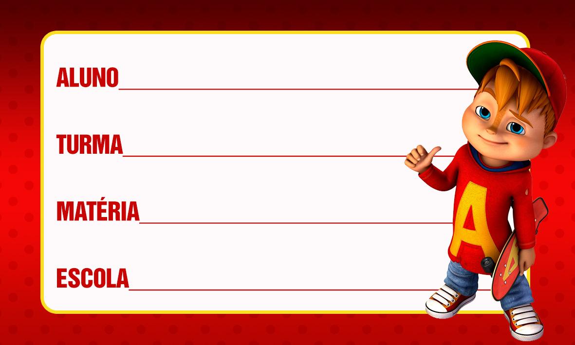 Etiqueta Escolar Personalizada Alvin e os Esquilos