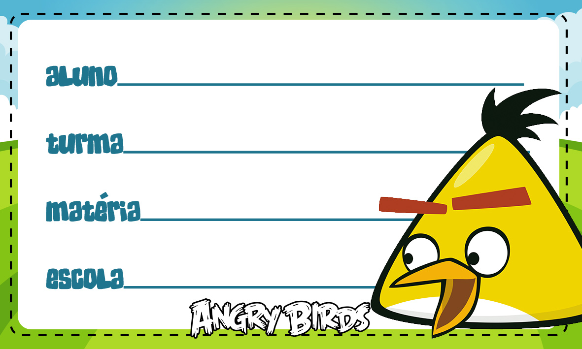 Etiqueta Escolar Personalizada Angry Birds 11