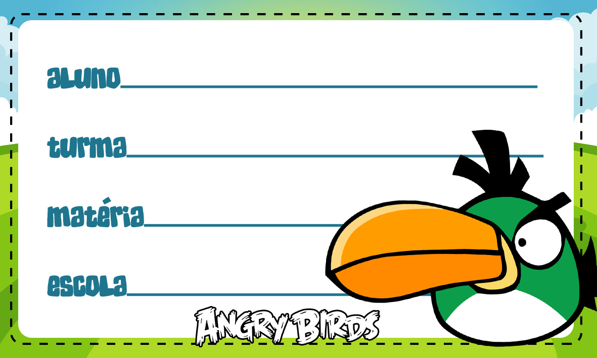 Etiqueta Escolar Personalizada Angry Birds 5