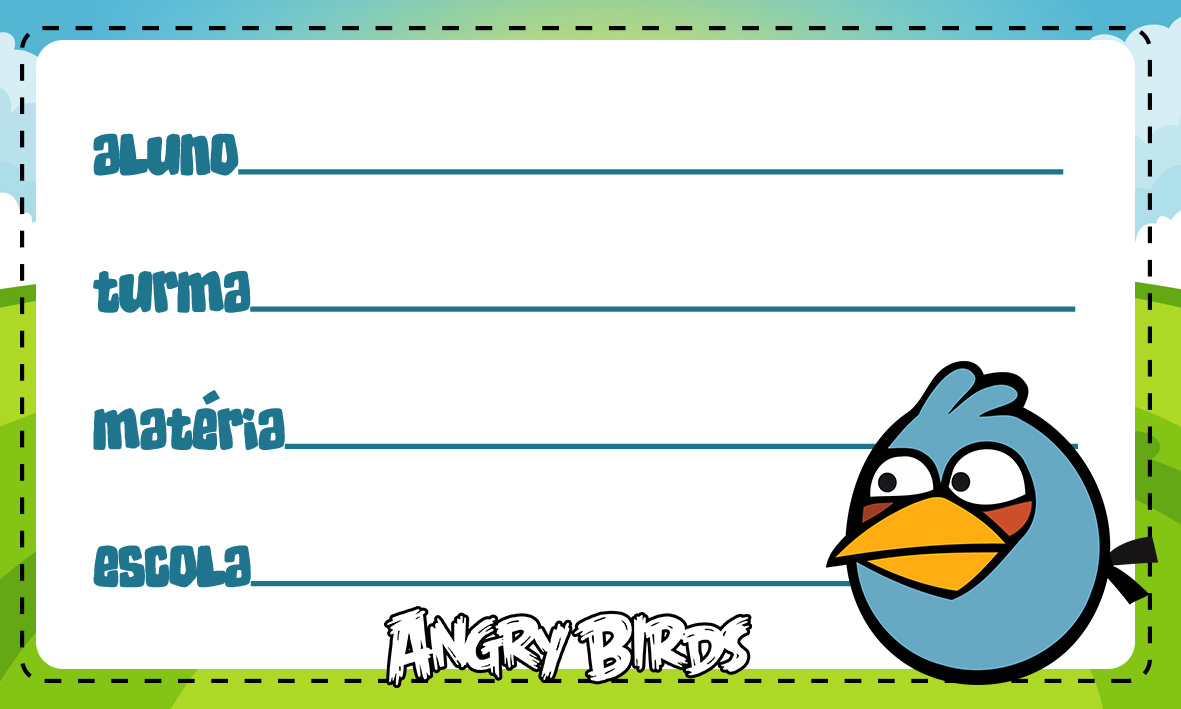 Etiqueta Escolar Personalizada Angry Birds 7