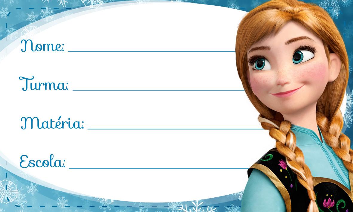 Etiqueta Escolar Personalizada Anna Frozen Azul