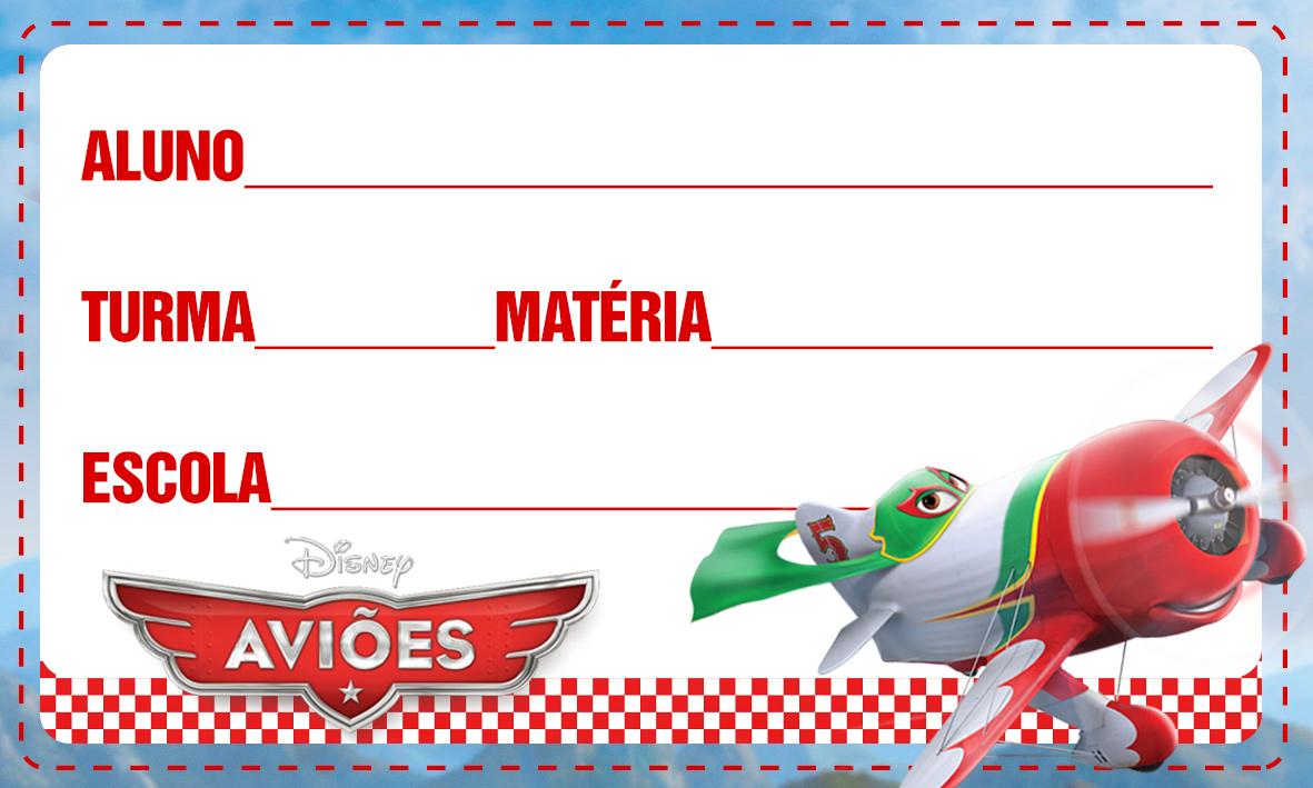 Etiqueta Escolar Personalizada Avioes da Disney