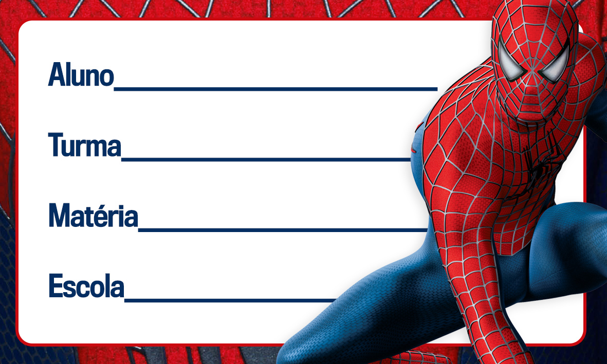 Etiqueta Escolar Personalizada Homem Aranha 7