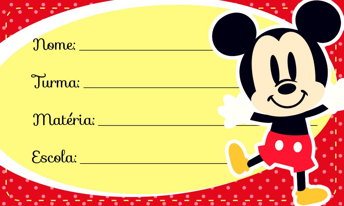 Etiqueta Escolar Personalizada Mickey Vintage