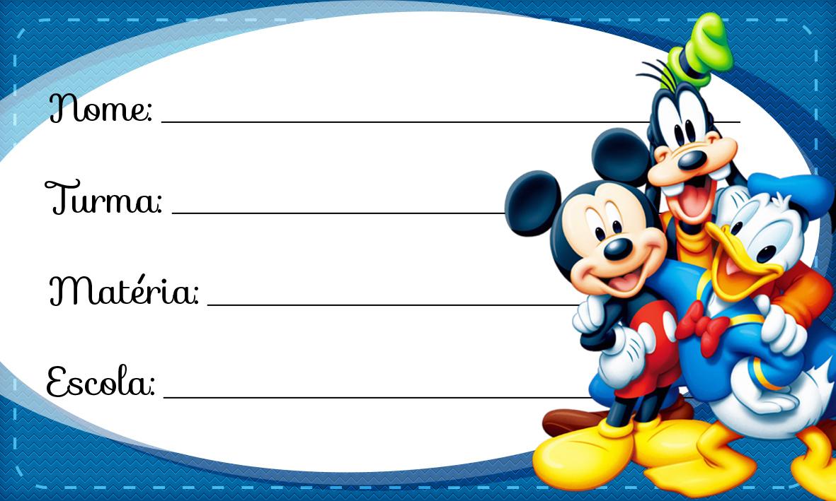 Etiqueta Escolar Personalizada Mickey e sua Turma