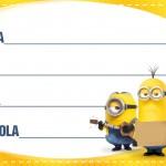 Etiqueta Escolar Personalizada Minions 2