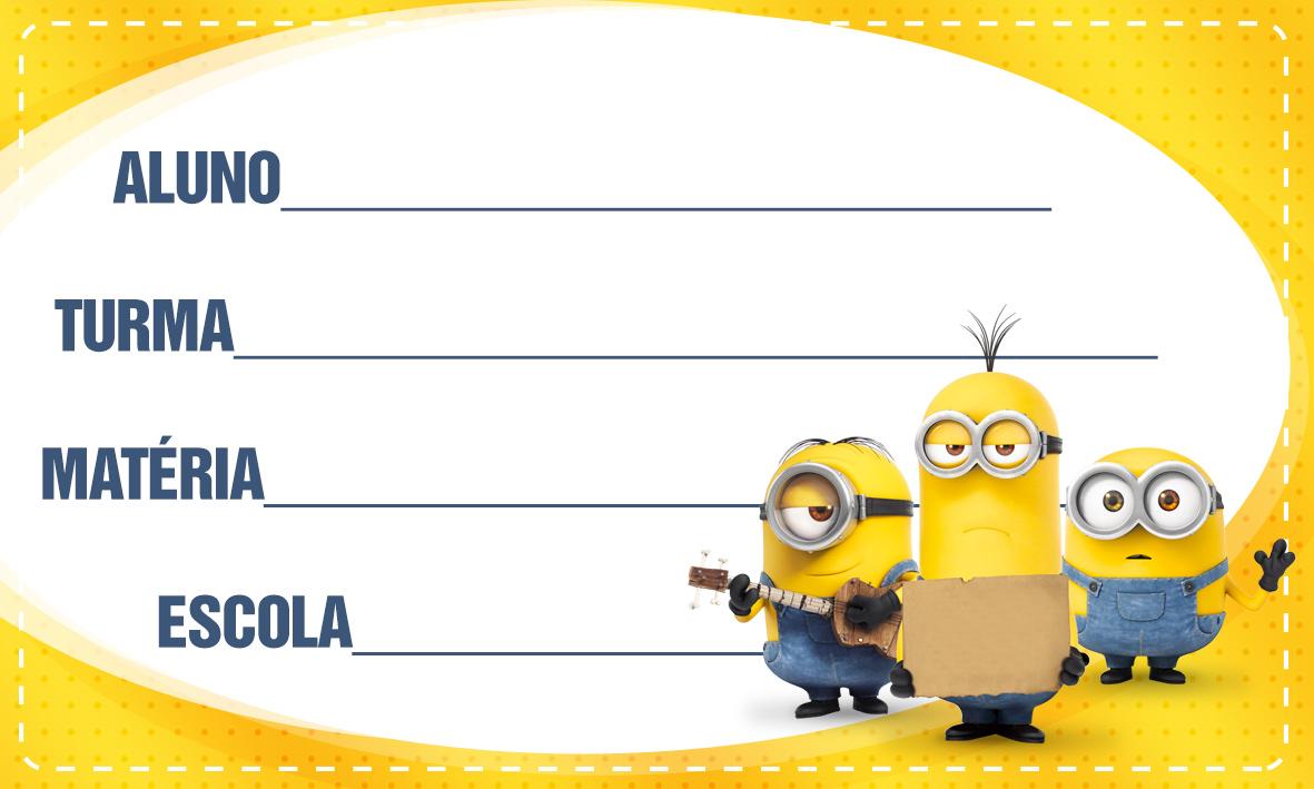Etiqueta Escolar Personalizada Minions 3 - Fazendo a Nossa Festa