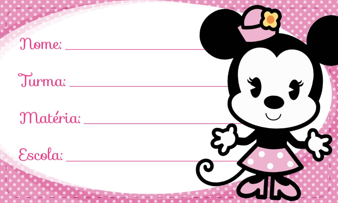 Etiqueta Escolar Personalizada Minnie Rosa Vintage