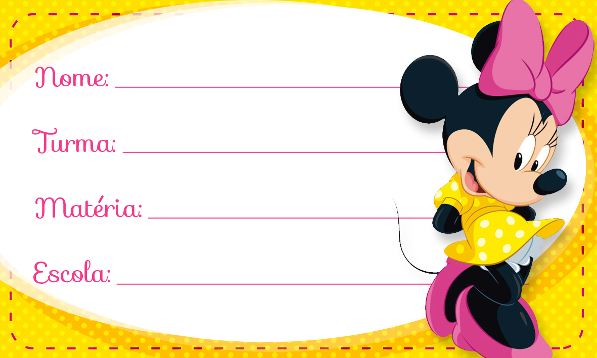 Etiqueta Escolar Personalizada Minnie Rosa