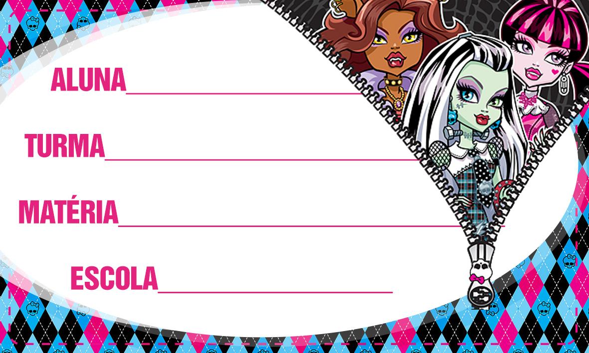 Etiqueta Escolar Personalizada Monster High 11