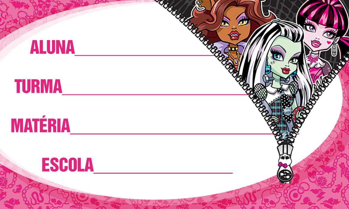 Etiqueta Escolar Personalizada Monster High 2