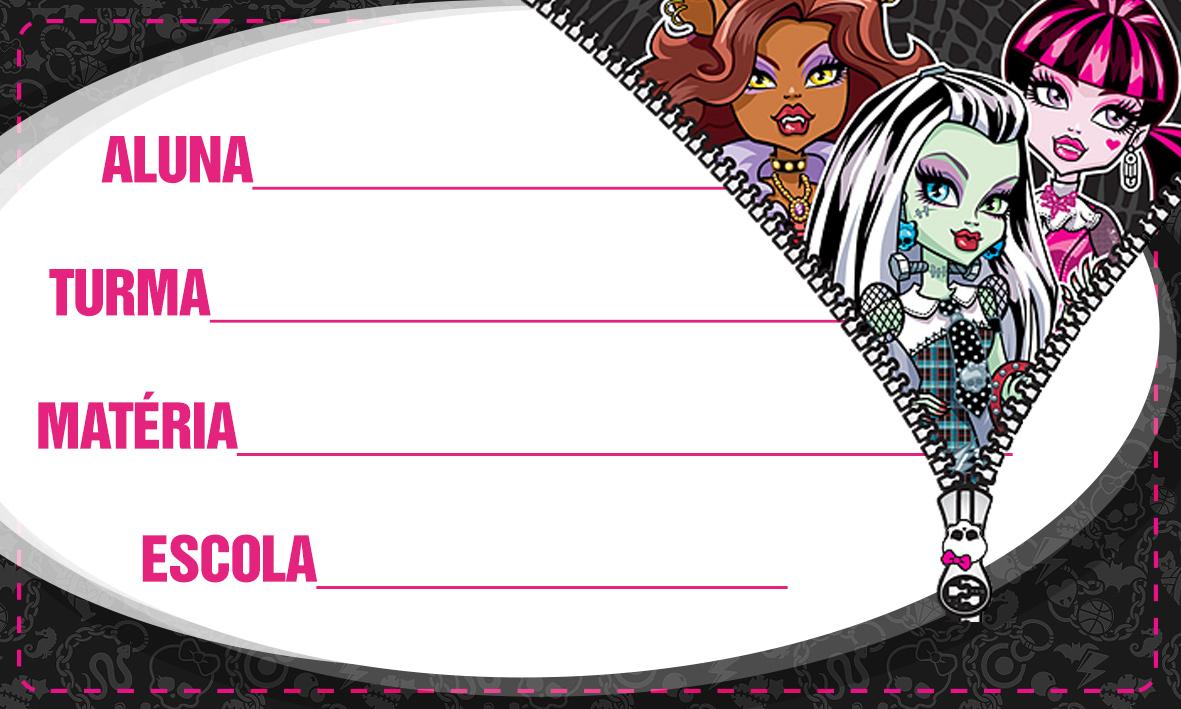 Etiqueta Escolar Personalizada Monster High 6