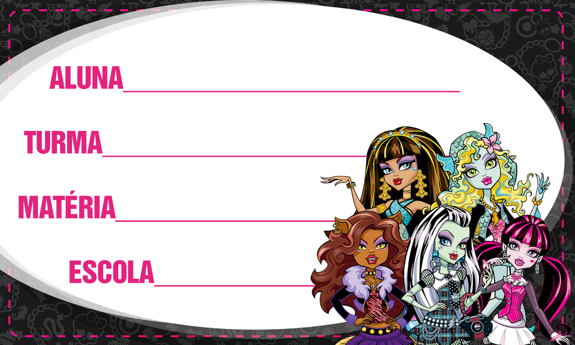 Etiqueta Escolar Personalizada Monster High 9