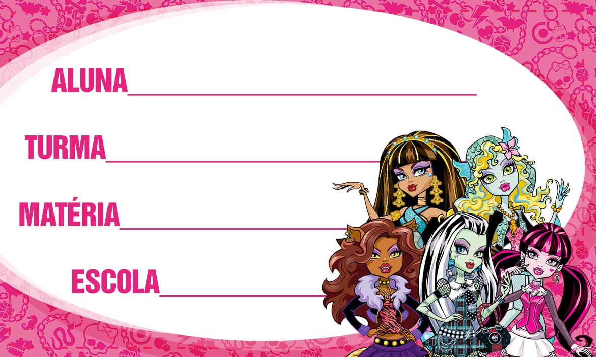 Etiqueta Escolar Personalizada Monster High