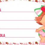 Etiqueta Escolar Personalizada Moranguinho Baby