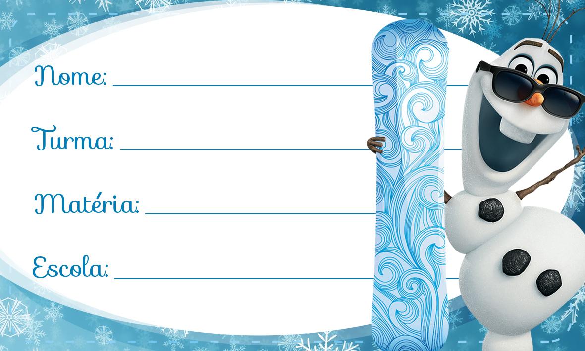 Etiqueta Escolar Personalizada Olaf Frozen 3