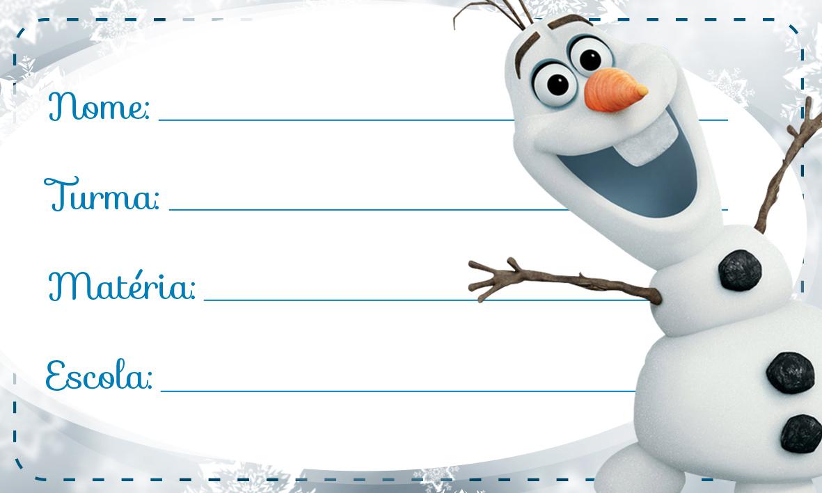 Etiqueta Escolar Personalizada Olaf Frozen