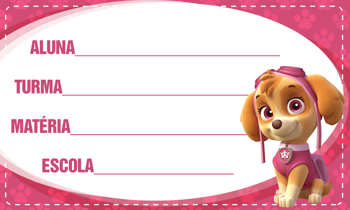 Etiqueta Escolar Personalizada Patrulha Canina 2