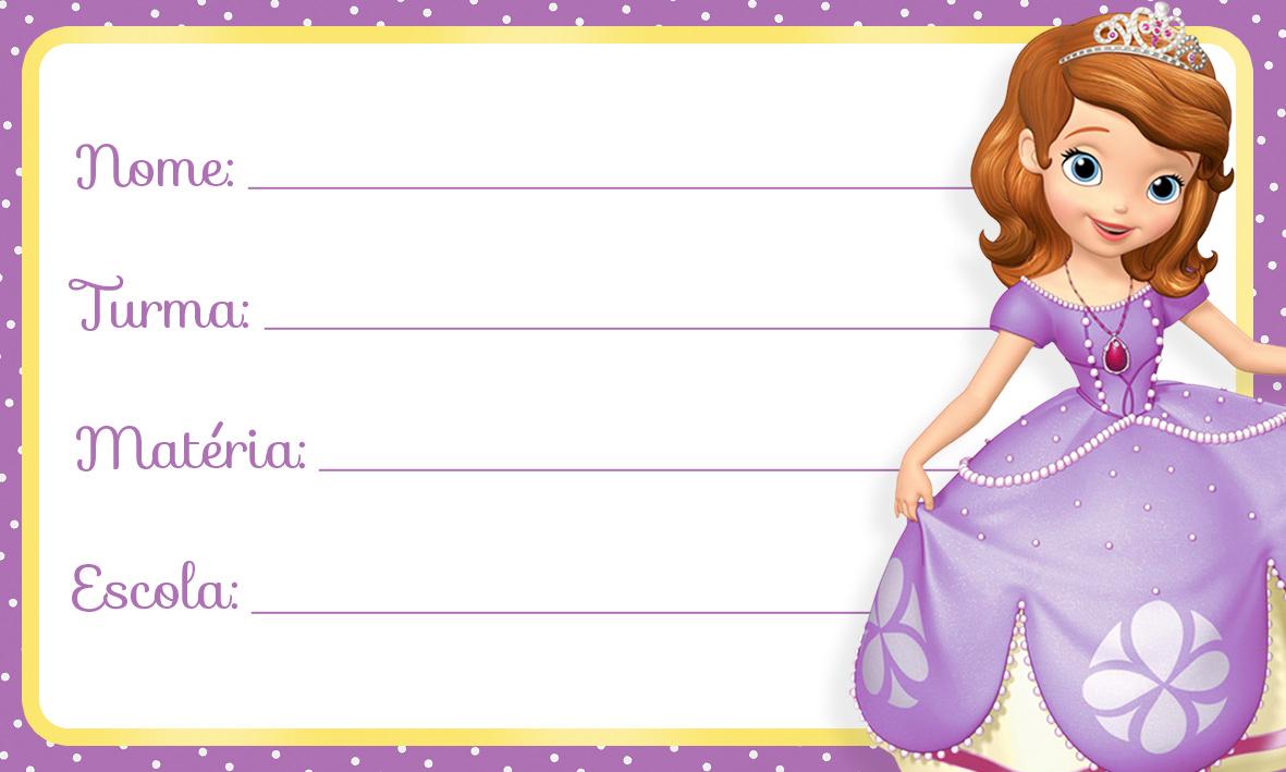 Etiqueta Escolar Princesinha Sofia