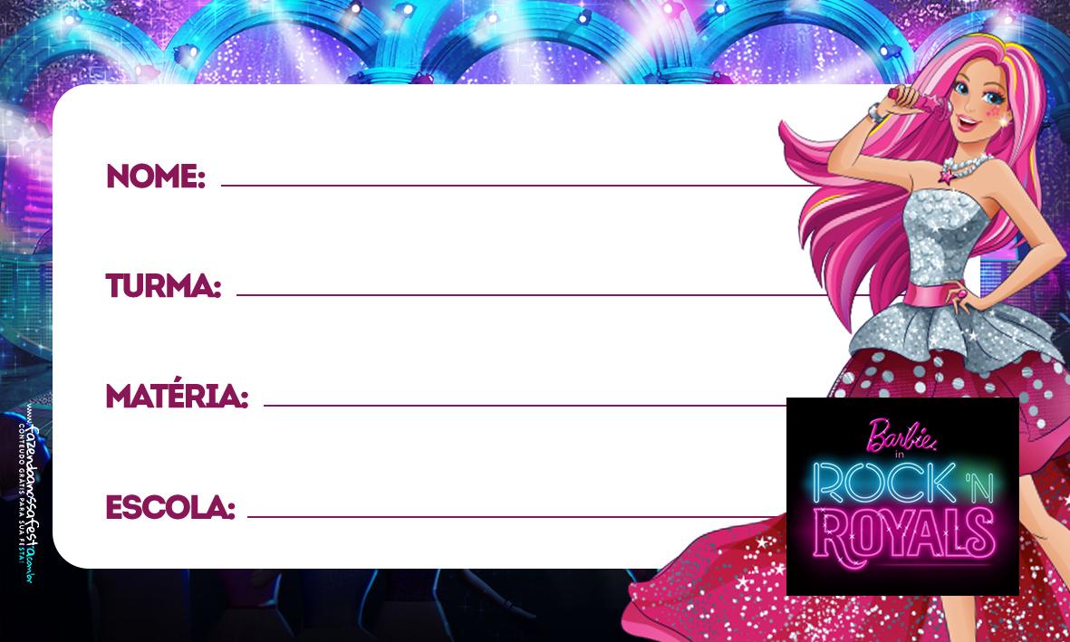 Etiqueta Volta as aulas Barbie in Rock Royals 2 - Fazendo