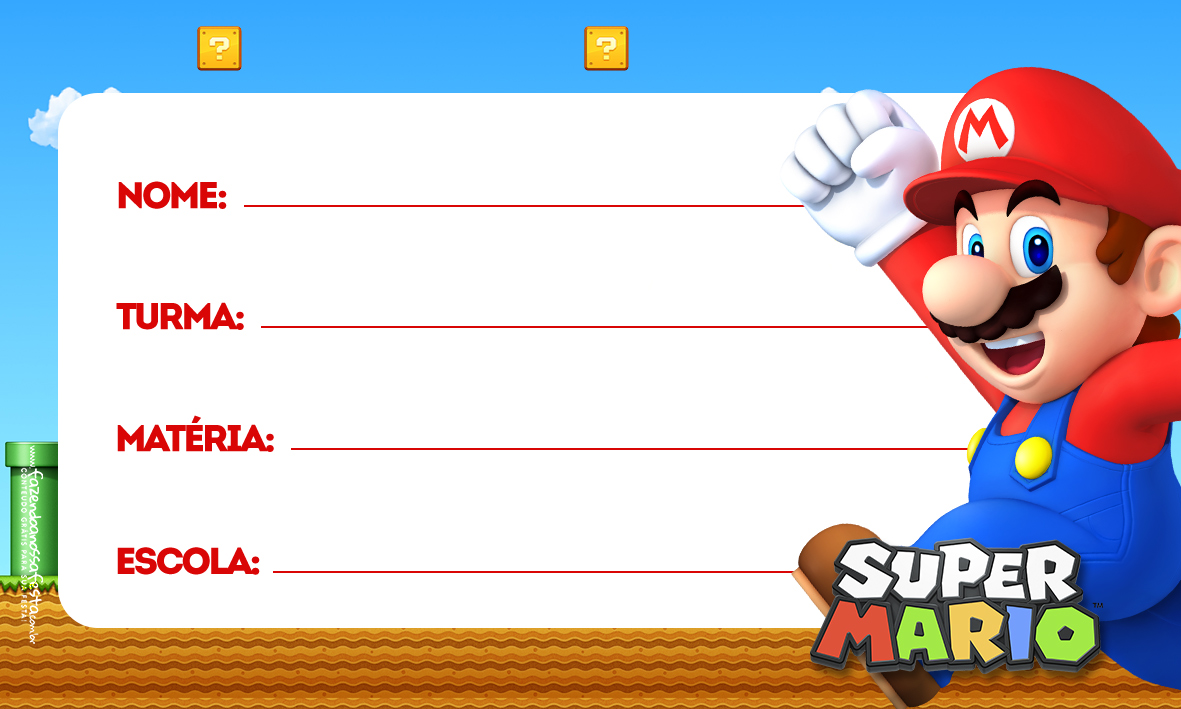 Etiqueta Volta as aulas Super Mario 2