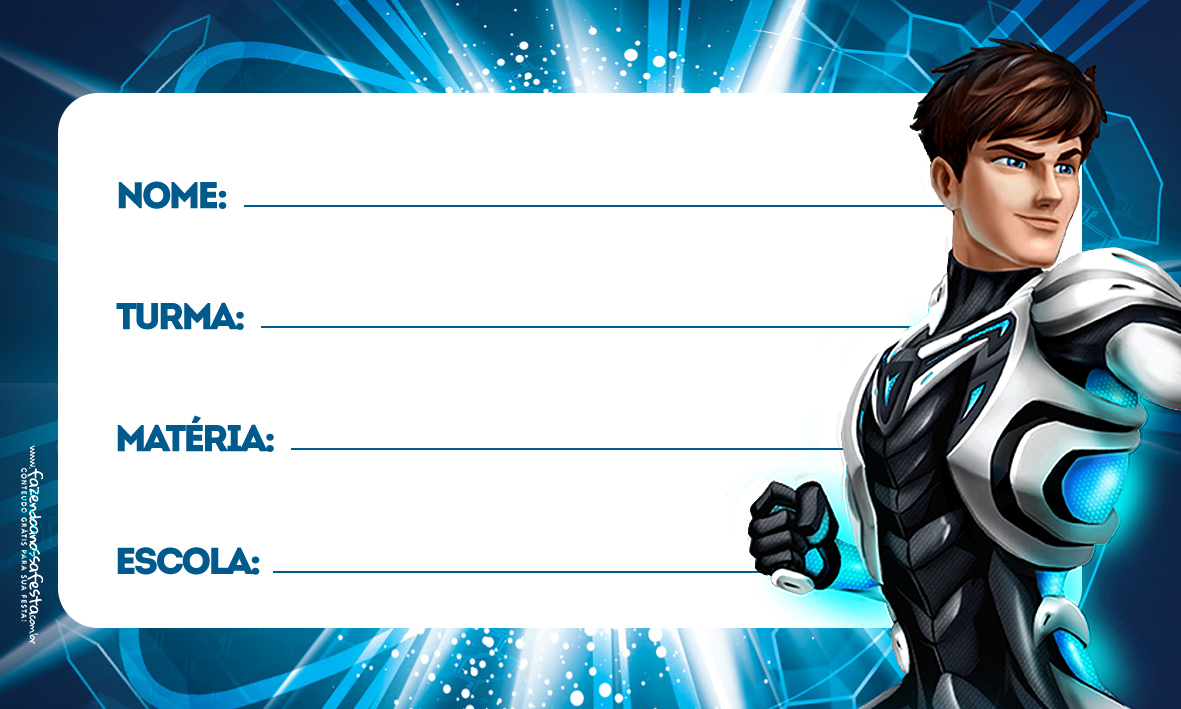 Etiquetas Volta as aulas Max Steel