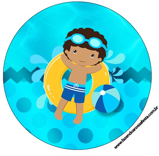 Latinhas,Toppers e Tubetes Pool Party Menino Moreno
