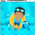 Molde Quadrado Pool Party Menino Moreno