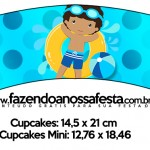 Saias Wrappers para Cupcakes 2 Pool Party Menino Moreno