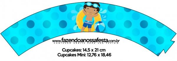 Saias Wrappers para Cupcakes 2 Pool Party Menino Moreno