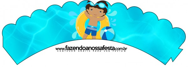 Saias Wrappers para Cupcakes Pool Party Menino Moreno