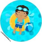 Toppers e Latinhas Pool Party Menino Moreno