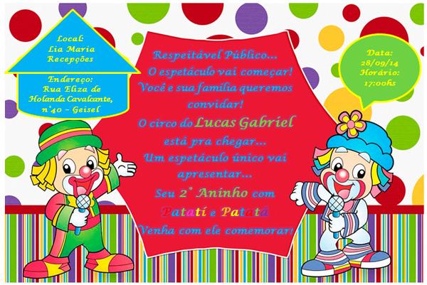 Convite Festa Patati Patata Do Lucas Gabriel Fazendo A Nossa Festa