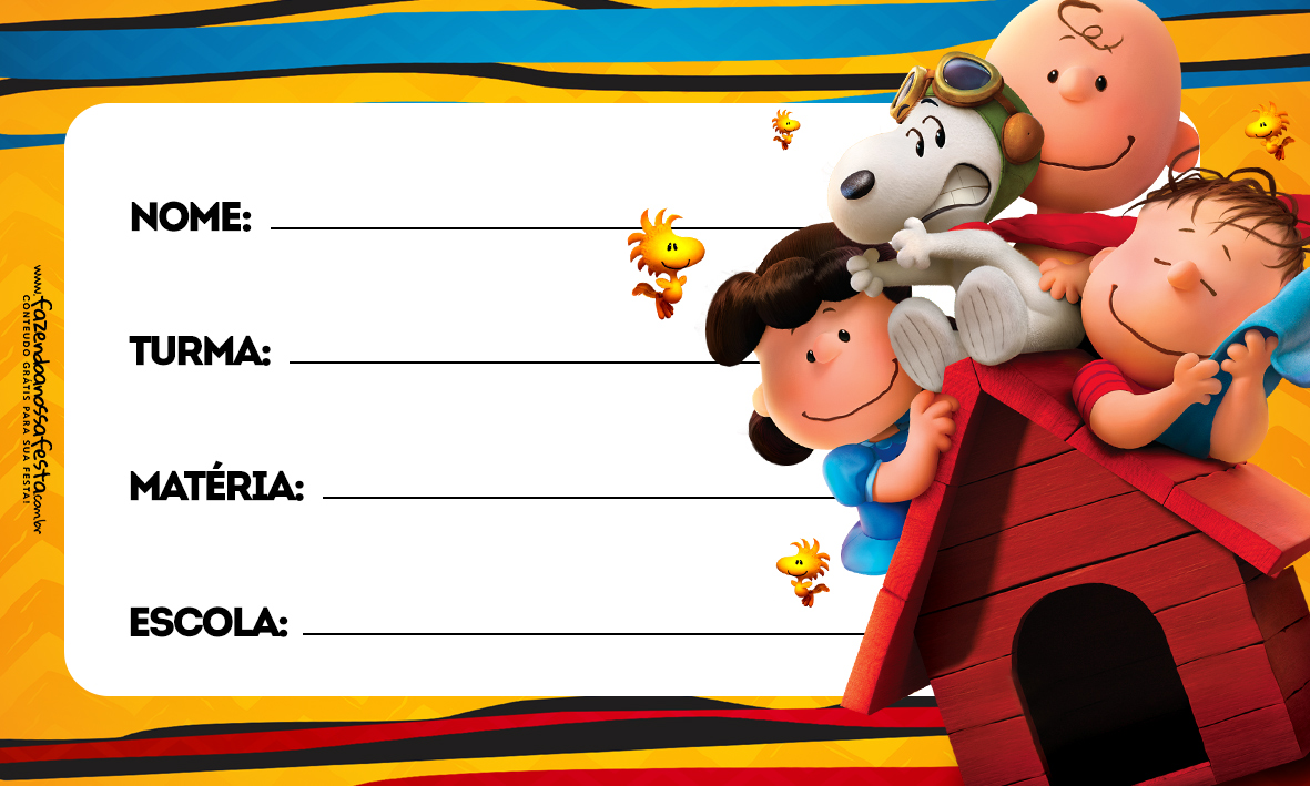 Etiqueta Volta as Aulas Snoopy 4