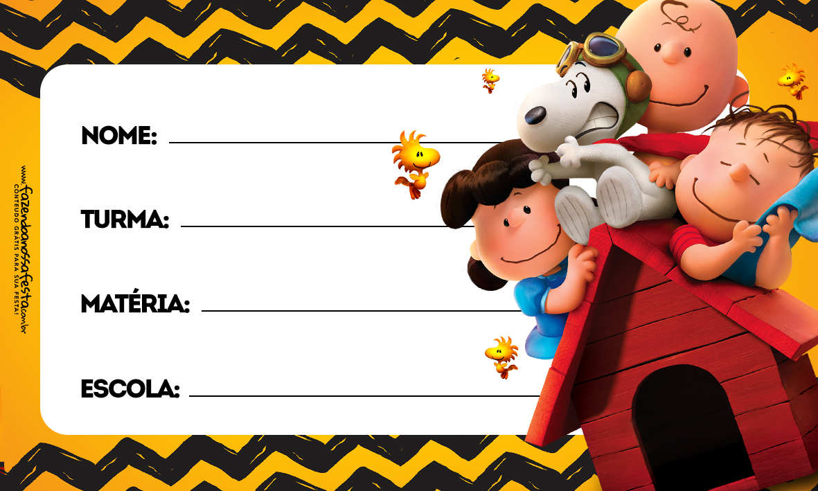 Etiqueta Volta as Aulas Snoopy 1