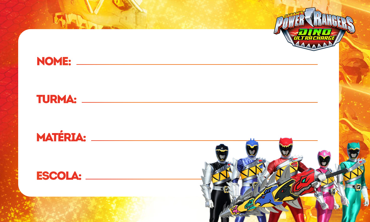 etiquetas volta as aulas power rangers dino charger