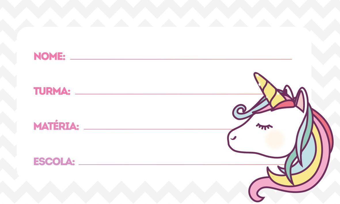 etiquetas volta as aulas unicornio novo