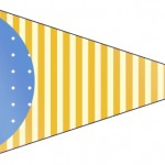 Bandeirinha 5 Fundo Príncipe Azul e Dourado