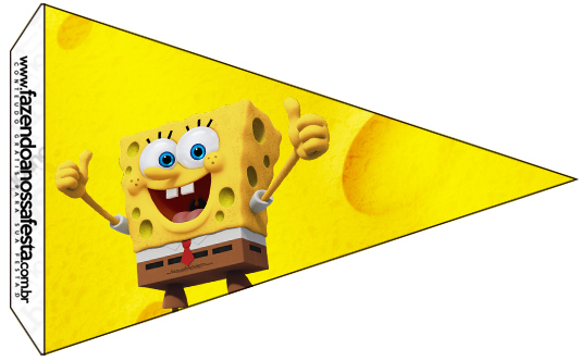 Bandeirinha Sanduiche 3 Bob Esponja - Um Herói Fora D'Água