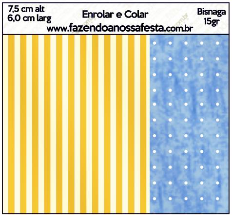 Bisnaga Brigadeiro 15gr Fundo Príncipe Azul e Dourado