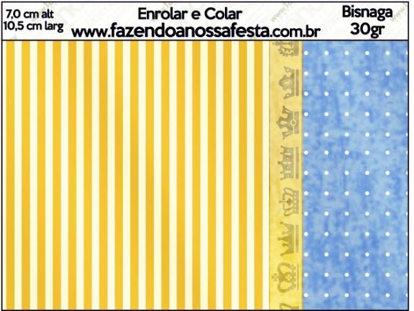 Bisnaga Brigadeiro 30gr Fundo Príncipe Azul e Dourado