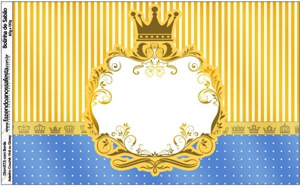 Bolinha de Sabão Fundo Príncipe Azul e Dourado