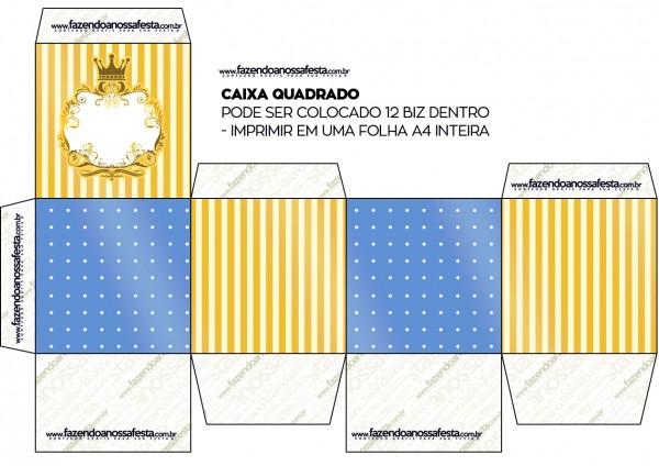 Caixa Bis Fundo Príncipe Azul e Dourado