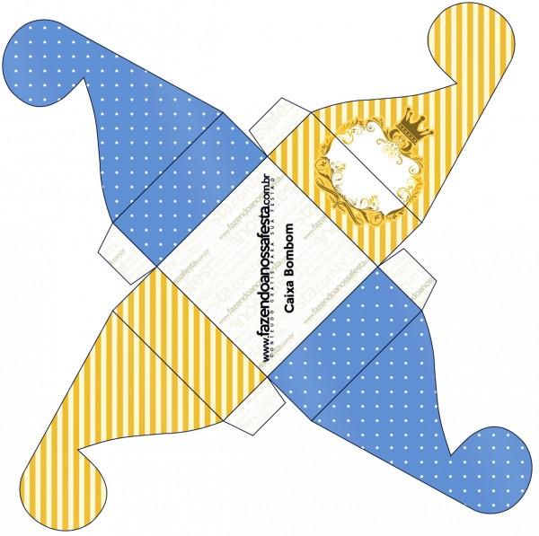 Caixa Bombom Fundo Príncipe Azul e Dourado