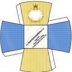 Caixa Chachepô Fundo Príncipe Azul e Dourado