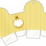 Caixa Cupcake Fundo Príncipe Azul e Dourado