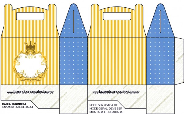 Caixa Lembrancinha Fundo Príncipe Azul e Dourado