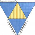 Caixa Pirâmide Fundo Príncipe Azul e Dourado
