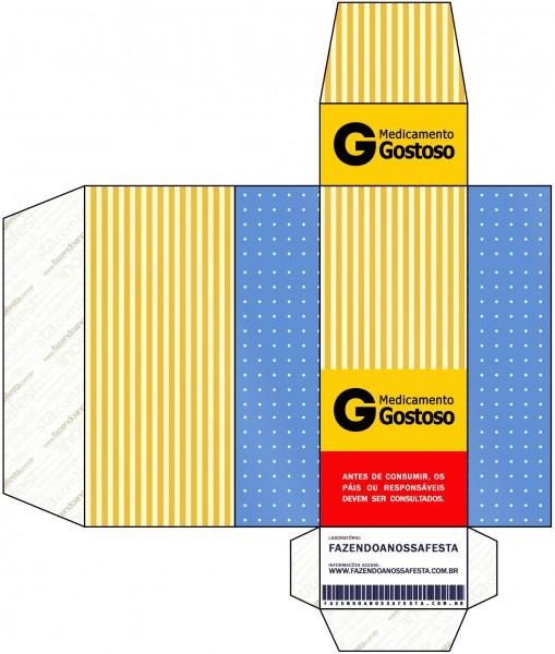 Caixa Remédio Fundo Príncipe Azul e Dourado
