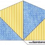Cone Guloseimas 4 lados Fundo Príncipe Azul e Dourado